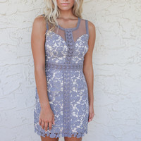 French Villa Grey Floral Cut Out Sleeveless Dress