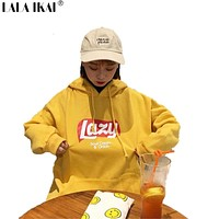 Korean Version Loose Hooded Harajuku Thick Coat Jacket Lazy Tops Sweatshirt Women tracksuit Fleece Hoodies Sweatshirt SWI0306-45