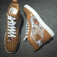 PEAPUX5 Cl Christian Louboutin Lou Spikes Style #2211 Sneakers Fashion Shoes