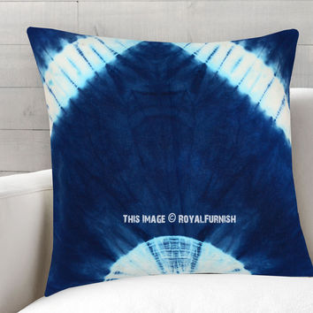 Blue  White Indie Shibori Throw Pillow Cover 16X16 Inch on RoyalFurnish.com