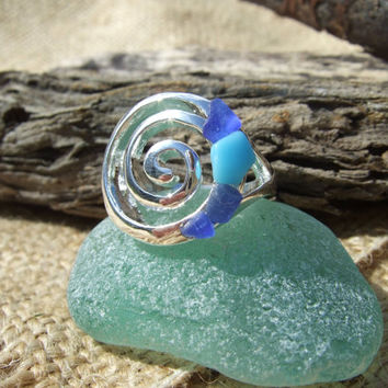 Scottish sea glass Ocean Wave design silver plated ring UK size 8