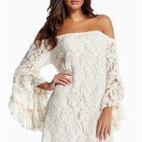 White Crochet Off Shoulder Bell Sleeve Mini Dress