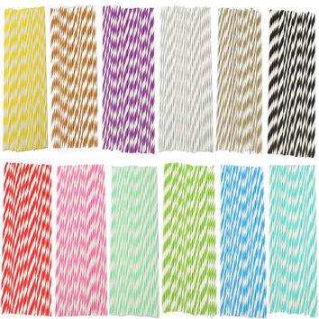 25Pcs Striped Plastic Straws Puzzles Paper Drinking Straws Wedding Birthday Party Supplies