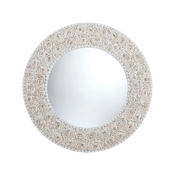 Floral Pattern Clam Shell Framed Mirror Natural