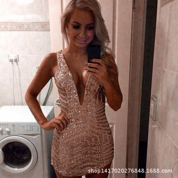 Ladies Fashion V Neck Strap Party Short Dress Sexy Bodycon Clubbing Mini Dress Hot Hip Package Dresses = 1945674244
