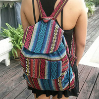 Tribal Backpack Boho Hippie Ethnic Hmong Woven Hipster Aztec Gypsy Nepali Patterns Bags Hippie Purse Cross Body Tapestry Rucksack School Bag