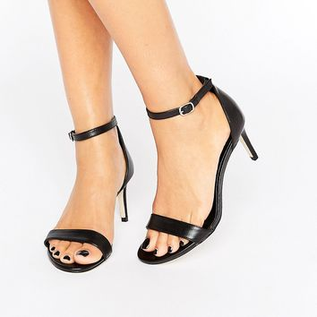 New Look Wide Fit Leather Barely There Mid Heel Sandal