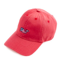Vineyard Vines Signature FLAG Whale Logo Baseball Hat- Jetty Red
