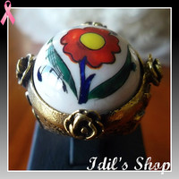 Authentic Turkish Ottoman Style Bronze Vintage Ring Encrusted With Handmade Painted Ceramic Stone. Ring Number Is 8 In US Size.