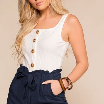 Brandie White Ribbed Button Crop Top
