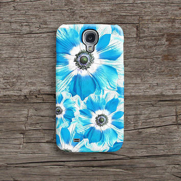 Turquoise floral Samsung S5 case, Samsung S4 case S624