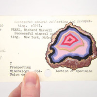Agate on Library Card - Print of agate painted on library card for the book Successful Mineral Collecting and Prosecting