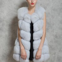 New Women Winter Sleeveless Faux Fox Fur Leather Thick Coat Outerwear Vest Plus Size Padded Jacket Overcoat Parka Q1778
