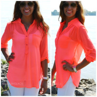 Ann Arbor Neon Pink Sheer Buttoned Top