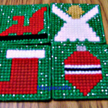 Christmas Drink Coasters, Plastic Canvas Coasters, Handmade, Cross Stitch, Placemat, Holiday