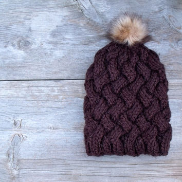 Cable Knit Basket Weave Hat with Faux Fur Pom Pom, Women's Chunky Beanie, Slouchy Beanie, Hat with Pom Pom, Pom Pom Hat, Chocolate Brown
