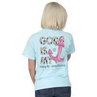 "Youth Simply Southern ""God is my Anchor"" Short Sleeve Tee"