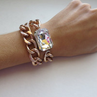 Rose Gold Chain Wrap Bracelet with Classic Crystal Stone