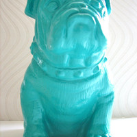 English Bulldog Statue in teal