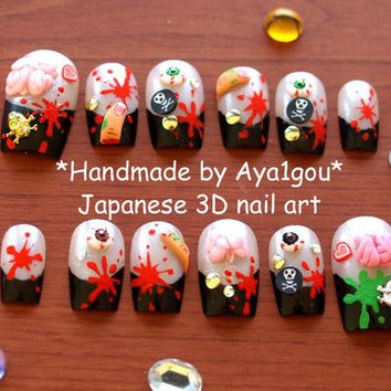 Halloween, zombie, fake nail, 3D nails, deco nails, spooky, horror, decoden, nail decal, press on nails, nail set, Japanese nail art, kawaii