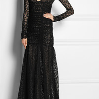 Alessandra Rich | Ruched leopard-lace gown  | NET-A-PORTER.COM