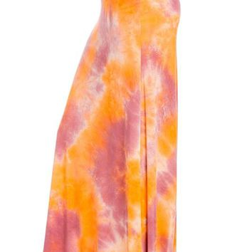 Coral Pink Tie-Dye Maxi Skirt