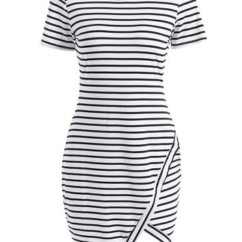 Casual Round Collar Asymmetric Striped Short Sleeve Dress