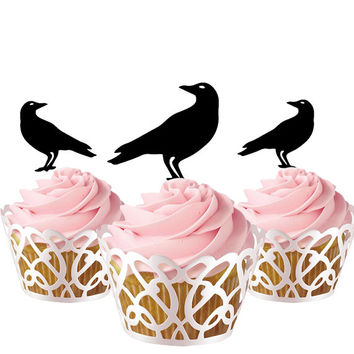 6 pcs in one set raven CupCake toppers for party decor, cupcake toppers acrylic,  topper for birthday, kids birthday cake decor