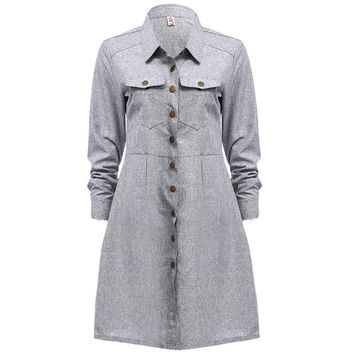 Turn-down Collar Metal Button Long Sleeve Dress for Ladies