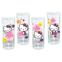 Vandor 18102 Hello Kitty 4 pc 10 oz Glass Set, Multicolor