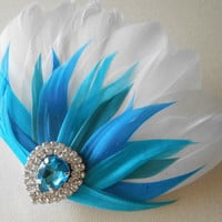 Ombre Prom Hairpiece, Feather Fascinator, Wedding Hairpiece, White, Turquoise, Blue, Aquamarine, Vintage Wedding