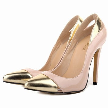 Womens Closed Pointed Toe High Heels Mix Gold Leather Pumps