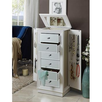 Luxurious Six Drawer White Jewelry Armoire