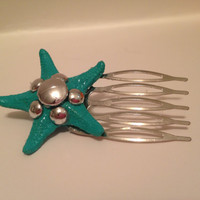 Real Tiffany Blue Starfish Hair Comb  by byElizabethSwan on Etsy