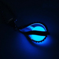 Glowing Heart Round Locket Pendant Necklace Glow in the Dark Glow Jewelry