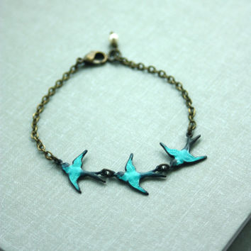 Three Tiny Brass Flying Swallow Bird Teal Bracelet. Mother Daughters. 3 Sisters. Best Friends. Seniors Graduation. A Family of 3. New Baby.