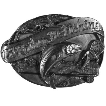 Sports Accessories - Rather Be Fishing Antiqued Belt Buckle