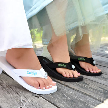 Black Personalized Flip Flops