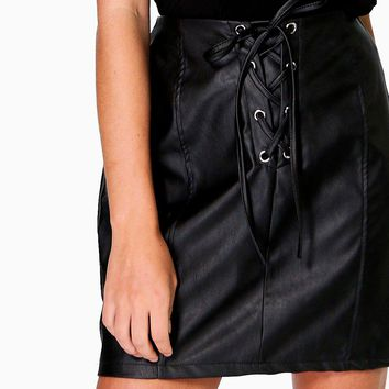 Camille Lace Up Panelled Leather Look Mini Skirt