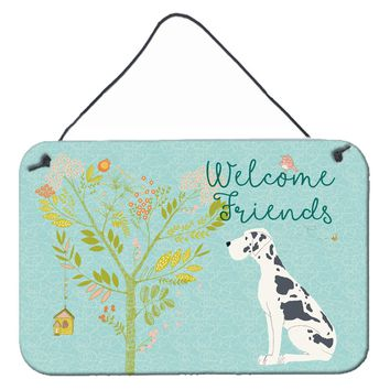 Welcome Friends Harlequin Great Dane Wall or Door Hanging Prints BB7590DS812