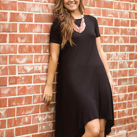 Hi-Lo Day Dress-Black
