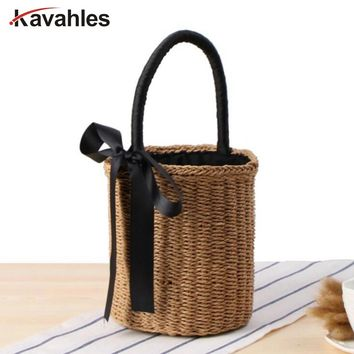New Top Summer Handbags Women Straw Bag Female Bowknot Beach Bag Woman Designer Casual Totes Ladies Vintage Bolsa Feminina LW-75