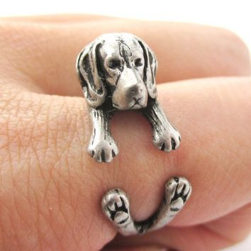 3D Beagle Puppy Animal Wrap Ring in Silver - Sizes 4 to 8.5 from DOTOLY