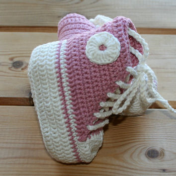 Organic, cotton, crochet, baby, girl, converse, style, shoes, boots, booties, pink, ecru, luxury, girls converse high tops, 3- 6M etsy gifts
