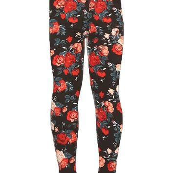 Girls Rose Leggings Spring Roses Red/Pink/Black: S/L