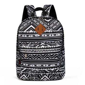 Advocator Classic Vintage Printing College School Backpack Retro Generous Simple College Student School Bag for Teenage Girl Boy