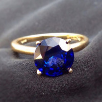 8mm Tiffany-set Blue Sapphire and 14k Gold Solitare Ring, Engagement Ring, September Birthstone, Wedding Ring