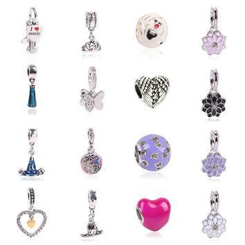 Charms For Bracelets European Silver plated Delicate Angel Wings Heart fit Pandora Bra