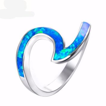 Beach Ocean Blue Green Fire Opal Ring