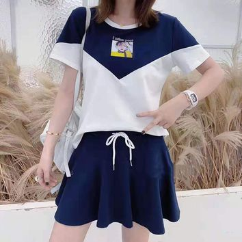 Woman's Leisure  Fashion Letter Printing Short Sleeve Short Skirt Two-Piece Set Casual Wear